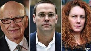 Rupert Murdoch, James Murdoch and Rebekah Brooks