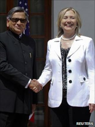 SM Krishna and Hillary Clinton in Delhi, 19 July 2011