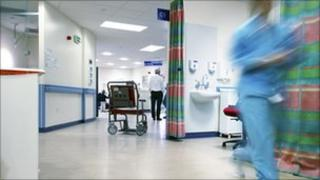 Empty wheelchair on an accident and emergency ward
