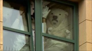 Activists dressed as polar bears occupying Cairn's offices in Edinburgh