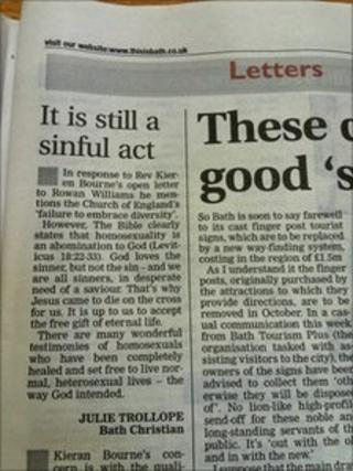 Letter in newspaper