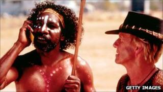 David Ngoombujarra and Paul Hogan in Crocodile Dundee in Los Angeles