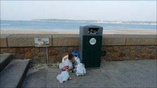Rubbish beside bin at West Park