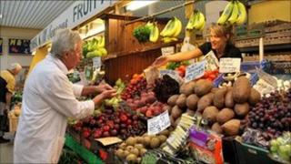 A fruit and veg stall at Castle Market