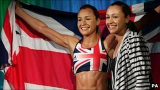 "Athlete Jessica Ennis met her ""lifelike"" waxwork at an unveiling at Madame Tussauds in London"