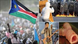 Clockwise from left: Independence celebrations in South Sudan, Belfast riots, a synthetic windpipe and Prince