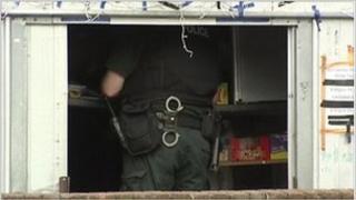 Police officer at scene of mortar find