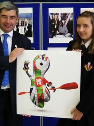 Councillor Stephen Castle with Beth Siddle and her design