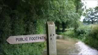 A flooded country lane in Surrey