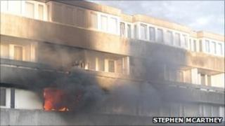 The fire at Wyndham Court PHOTO: Stephen McArthey