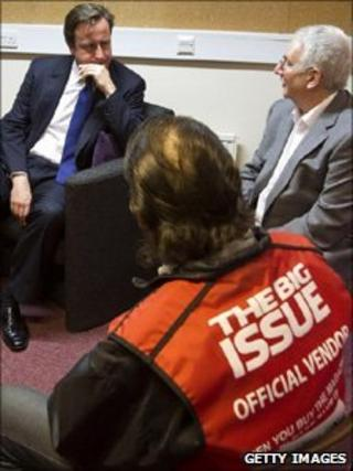 David Cameron at the Big Issue offices