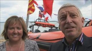 Norma and Robert Thomas with the lifeboat