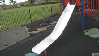Vandalism at an Evesham play area