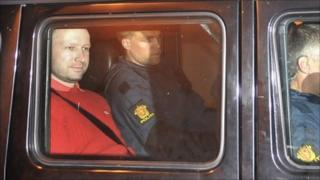 Anders Behring Breivik leaves court, 25 July