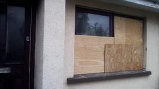 Damaged window of house