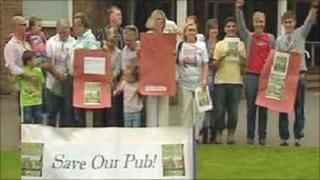 Members of Save The Tyn Y Capel Campaign outside Wrexham Guildhall
