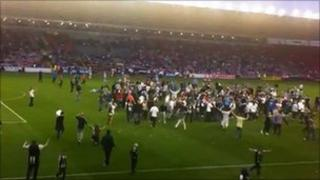 pitch invasion at Darlington v Newcastle match