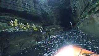 rnli lifeboat pic of cave rescue