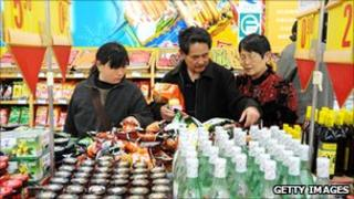 Consumers at a supermarket in China