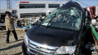 Nissan car wrecked by the Japanese earthquake and tsunami