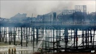Hastings Pier after the fire