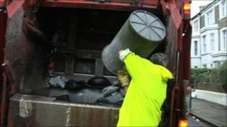 Binman throwing rubbish on to lorry