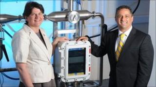 Enterprise Minister Arlene Foster with Khalid Thabeth, CEO of Advanced Sensors