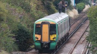 Train near Durrington station in West Sussex