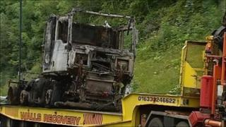 The lorry that caught fire in the Brynglas tunnel on the M4 on Tuesday