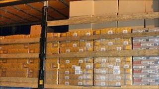 Some of the tobacco boxes seized during a raid by customs officers in Kent