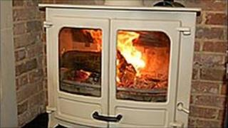 A wood-burning stove