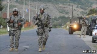 US troops patrol northern Kosovo - 28 July 2011