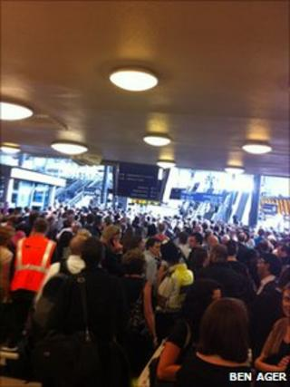 Crowds gathered during the delays