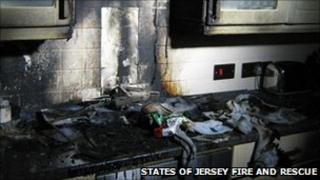 Chip pan fire damage
