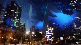 Giant euro sign near the European Central Bank in Frankfurt