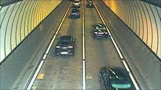 Traffic in the westbound Brynglas tunnel after reopening following a lorry fire - image from Traffic Wales webcam