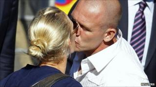 Mike Tindall and Zara Phillips leaving the Cannongate Kirk in Edinburgh