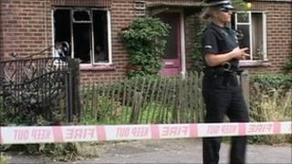 Fire scene in The Street, Upper Stoke