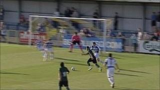 Real Betis about to score against Havant and Waterlooville