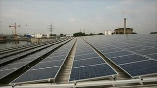 Solar cells on the roof of Thames Water's desalination plant at Beckton in east London