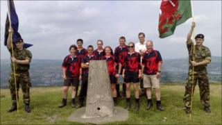 Flags are raised at the trig point
