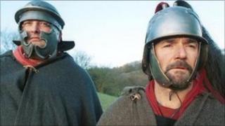 Men dressed as Roman soldiers