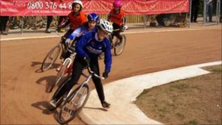 Cyclists on the new cycle speedway track