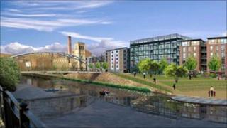 Artist impression of the flood defence system around the Wicker