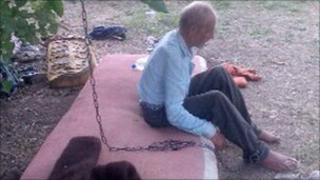 The old man chained to a tree in Russia's Rostov-on-Don region (image: Russian chief prosecutor's office)