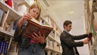 People in a library