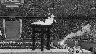 Olympic fllame burns at the Berlin games of 1936