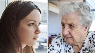 A young woman and an old woman