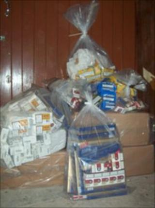 Some of the seized cigarettes - image courtesy trading standards