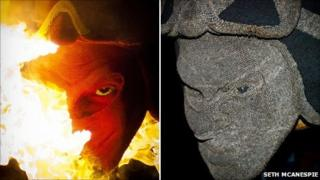 David Mach's devil's head sculpture took more than three months to make